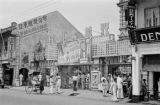 Singapore, street scene with shops and signs