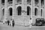 Hong Kong (China), building barricaded with sandbags