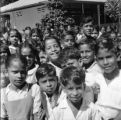 Malaysia, group of school children on rubber estate