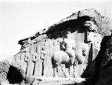 Fārs province (Iran), stone relief of King Shapur I on horseback and group of nobles at...