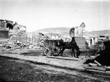 Damascus (Syria), horse and cart among ruins from French bombardment of city