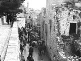 Jerusalem (Israel), street scene with people and horses