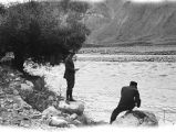 Tehrān province (Iran), William Poland and his driver fishing in Jājrūd River