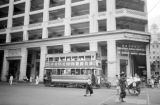 Hong Kong, double-decker trolley outside Gloucester Hotel in Victoria