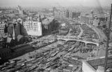 China, aerial view of Wusong Jiang in Shanghai crowded with sampans