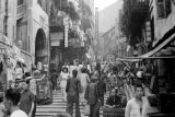 Hong Kong, view of stepped streets lined with shops