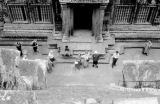 Cambodia, birds-eye-view of tourists visiting Angkor Wat