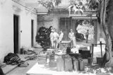 Hong Kong, Argyll and Sutherland Highlanders soldiers in courtyard with supplies
