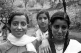 India, portrait of three young Indian women in Agra
