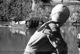 Vietnam, French Navy Commandos on boat in Ha Long Bay