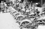 Japan, line of motorcycles parked on Tokyo street