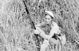 Vietnam, French Navy Commando resting during sweep of island in Ha Long Bay