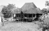 Indonesia, stilt house in Banjarmasin with halved coconuts drying in yard