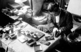 Japan, man at Kyoto workshop making handicrafts