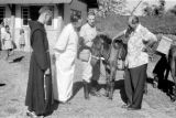 Indonesia, Harrison Forman and Ruteng clergy looking at pony
