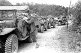 Vietnam, French soldiers riding in military vehicles during First Indochina War