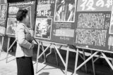 Japan, woman reading advertisements on Tokyo sidewalk