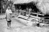 Indonesia, villagers outside thatched roof hut in Ende