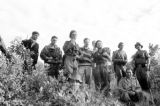 Vietnam, group portrait of French Navy Commandos on island in Ha Long Bay