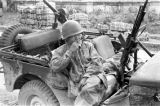 Vietnam, Vietnamese trooper sitting in jeep in First Indochina War