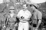 Vietnam, Harrison Forman with French Navy Commandos on island in Ha Long Bay