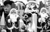 Japan, display of Santa Claus and Christmas decorations in Tokyo store