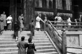 Japan, people on stairs of Great Buddha Hall at Todai-ji Temple in Nara