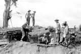 Laos, German soldiers digging trenches in Xiangkhoang