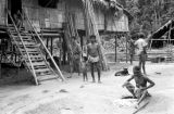 Malaysia, Semang people and stilt homes at village near Fort Dixon