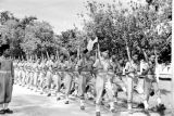 Vietnam, Cao Dai Army soldiers marching in formation in Tây Ninh