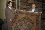 Baghdad (Iraq), two men in rug shop displaying a rug