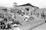 Vietnam, soldiers awaiting airlift at Na Sản military camp during First Indochina War