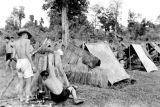 Laos, German soldiers at military camp in jungle of Pakxan