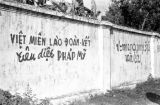 Laos, graffiti on wall in Xiangkhoang