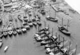 Malaysia, aerial view of boats docked in harbor