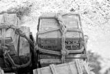 Laos, crates containing American aid in Xiangkhoang