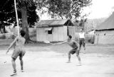 Malaysia, Gurkha soldiers playing badminton at military camp