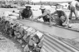 Vietnam, Vietnamese soldiers laying concrete at Na Sản military base during First Indochina War