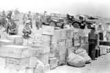 Vietnam, crates of supplies stacked at Na Sản military base during First Indochina War
