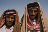 Iraq, two men wearing keffiyeh, traditional Arabic headdress