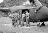 Malaysia, British Royal Navy helicopter airlifting soldiers from jungle fort