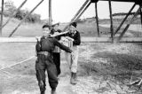 Vietnam, Vietnamese troopers carrying crate in Việt Trì