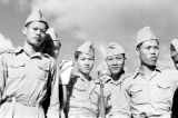Vietnam, group portrait of Cao Dai Army soldiers in Tây Ninh