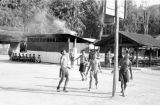 Malaysia, Gurkha soldiers playing basketball at military camp
