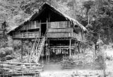 Malaysia, stilt home in Semang village near military camp