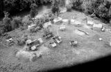 Malaysia, aerial view of stilt homes at village near Fort Dixon