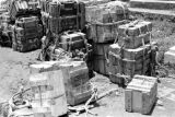 Laos, crates of ammunition stacked at military camp in Xiangkhoang