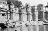 India, fortress wall along Ganges River in Varanasi