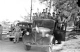 Vietnam, Cao Dai Army soldiers being transported by truck in Tây Ninh