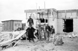 Israel, construction workers building house in Haifa development